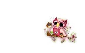 Picture owl, branch, art, children's