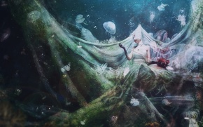 Picture water, girl, surrealism, blood, heart, jellyfish, claws, cap, desktopography, yarn