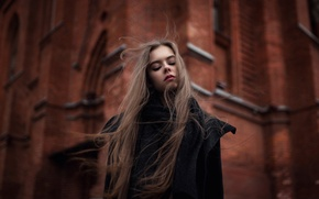 Picture the city, the wind, hair, makeup, Kate, cathedral, Gothic, composition, Ekaterina Kuznetsova
