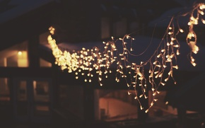 Picture lights, garland, hanging