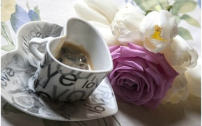 Picture flowers, background, Wallpaper, mood, heart, rose, coffee, mug, form, heart, wallpapers