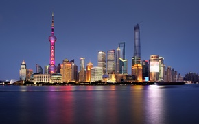 Picture river, horizon, China, Shanghai, Oriental Pearl Tower, Shanghai Tower, Shanghai World Financial Center, the Huangpu …