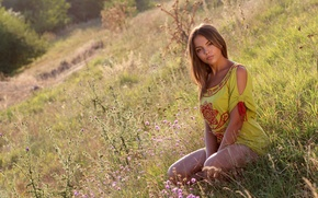 Picture grass, girl, nature, brown hair, tunic