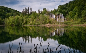 Picture forest, the sky, grass, clouds, trees, landscape, lake, waterfall, stream