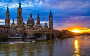 Picture sunset, river, glow, Spain, Basilica, Zaragoza, Nuestra Señora del Pilar