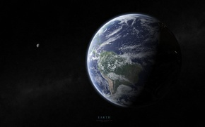 Picture earth, the moon, stars, the atmosphere, solar system, oceans, South America