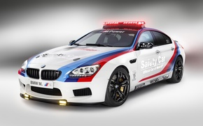 Picture BMW, Light, Glow, Gran Coupe, White, Tuning, Sedan, Safety Car, Wheels, Moto GP