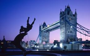 Picture England, London, Sunset, Home, Lights, Bridge, River, Fountain, UK, Twilight, Tower bridge, Bridge, Sunset, Lights, …