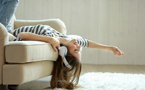 Picture music, woman, headphones, pose, joy