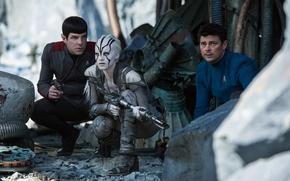 Picture cinema, ufo, girl, gun, pistol, Star Trek, weapon, woman, man, movie, planet, blonde, Zachary Quinto, …