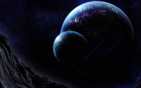 Picture mountains, night, planet, gorge