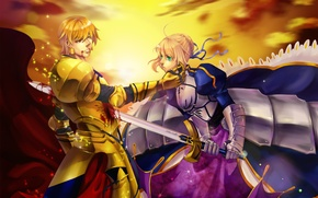 Picture girl, sunset, smile, mood, blood, sword, guy, saber, art, gilgamesh, fate/stay night, blanche-snow