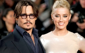 Picture celebrity, Johnny Depp, actress, blonde, actor, Johnny Depp, brunette, Amber Heard, Amber Heard