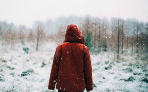 Picture girl, forest, snow, morning, sunrise, snowy, hood, woodland, snowing