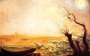Picture landscape, tree, bird, picture, Carl Gustav Carus, Boat in Ice Floating Ice