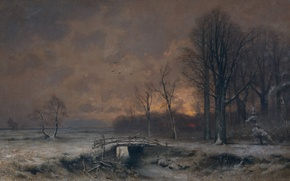 Picture landscape, bridge, picture, Louis Apol, Winter View of the Sunset Between the Trees