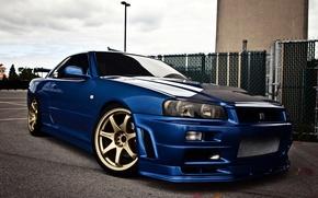 Wallpaper Nissan, skyline, blue, gtr, r34