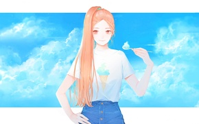 Picture clouds, Girl, spoon, tail, ice cream