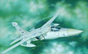Picture war, art, airplane, painting, jet, General Dynamics/Grumman EF-111A Raven