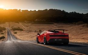 Picture Lamborghini, Red, Gallardo, Sun, Road, LP570-4, Supercar, Spoiler, Rear, Super Trophy