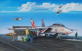 Picture war, art, airplane, painting, aviation, jet, Grumman F-14 Tomcat