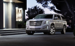Picture the sky, trees, house, jeep, SUV, the front, Cadillac Escalade, Cadillac Escalade