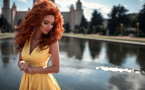 Picture summer, water, girl, the city, smile, glare, reflection, mood, hair, portrait, dress, grace, fountain, red, …