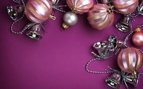Wallpaper balls, decoration, garland, bells