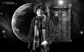 Picture look, space, stars, space, fiction, planet, hat, scarf, actor, black and white, male, booth, Doctor ...