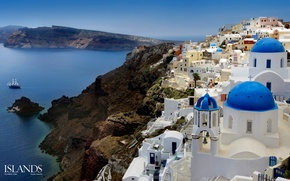 Picture city, lights, evening, buildings, homes, Santorini, Oia, Greece, dome, church, Aegean Sea