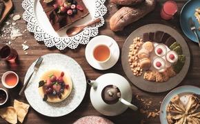 Wallpaper berries, tea, pie, cake, cake, dessert, cuts
