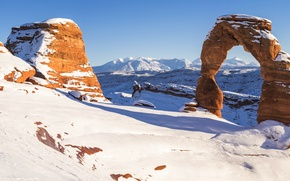 Picture winter, snow, rocks, canyon, panorama, arch, USA