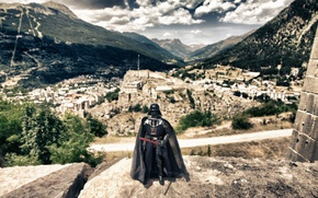 Picture mountains, the city, Darth Vader, Darth Vader, lightsaber