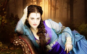 Wallpaper dress, eyes, beautiful, sofa, jewelry, Merlin, katie mcgrath