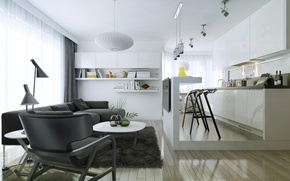 Picture modern, living room, kitchen, department