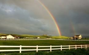 Picture field, the fence, Rainbow