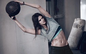 Picture girl, sport, the ball, tilt, figure, brunette