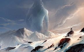 Picture mountains, snow, art, sakimichan, spirit, giant, rocks, landscape, being