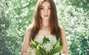 Picture eyes, face, background, hair, lilies of the valley, look. bouquet