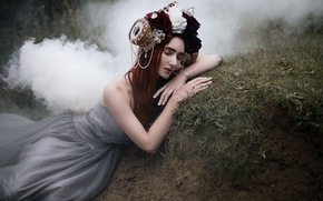 Picture girl, flowers, nature, pose, fog, smoke, sleep, roses, dress, brunette, fairy, hill, decoration, wreath, nymph, …