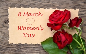 Picture flowers, the inscription, roses, red, March 8, congratulations, women's day