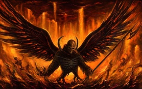 Picture demon, fire, sake, Angel