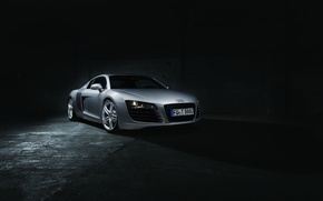 Picture Audi, Dark, Front, Supercar, Silver, Ligth, Motor