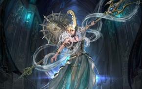 Picture girl, dress, Trident, Poseidon, goddess, poseidon