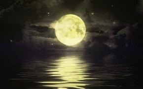 Wallpaper ads, stars, sea, the moon, night, the sky, horizon, track, clouds