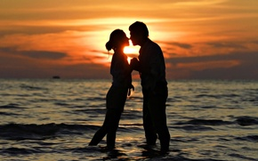 Picture sea, love, sunset, kiss, pair, love, sunset, people, kiss, romantic, couple