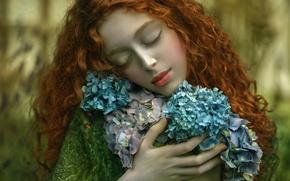 Picture girl, fantasy, art, Agnieszka Lorek, Ophidia, Love to nature
