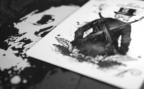 Picture card, Joker, skull, skeleton