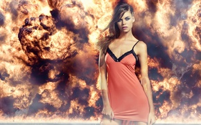 Picture eyes, girl, the explosion, fire, flame, red, dress, lipstick, lips, beautiful, blue, Gry Arnestad, skinny