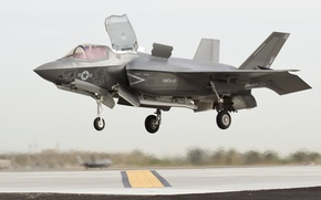 Picture fighter, bomber, landing, the airfield, Lightning II, F-35, Lockheed Martin, vertical
